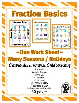 Fraction Basics with  Shapes -sheet 2 ~ One Work Sheet ~ Many Seasons / Holidays