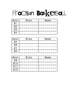 Fraction Basketball- Handout and Lesson Info