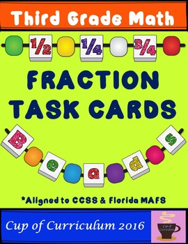 Fraction Task Cards - Third Grade (FSA & Common Core Aligned)