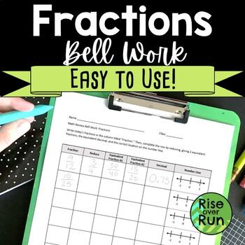 Fraction Bell Work Template, Editable