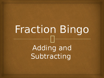 Fraction Bingo + -