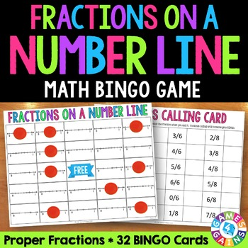 Fractions on a Number Line Bingo Game {3.NF.2, 3.NF.2A, 3.NF.2B}