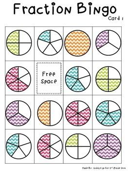 image regarding Fraction Bingo Printable known as Portion Bingo: 2 Sets of Bingo Playing cards