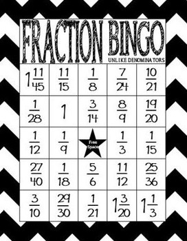 Fraction Bingo: Adding and Subtracting Fractions Unlike Denominators (Centers)