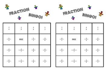 Fraction Bingo Boards