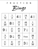 Fraction Bingo Boards and Questions