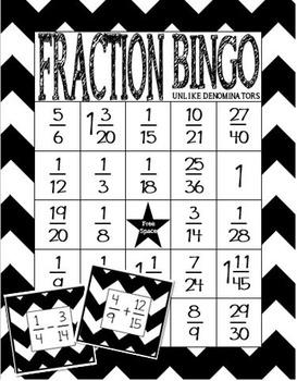 Fraction Bingo Class Set: Adding and Subtracting Fractions