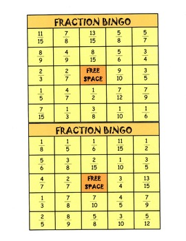 Fraction Bingo - Common Core