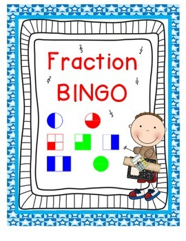 fraction bingo game first grade ccss 1 g 3 by crystal poston tpt. Black Bedroom Furniture Sets. Home Design Ideas