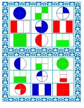 Fraction Bingo Game {First Grade CCSS 1.G.3}