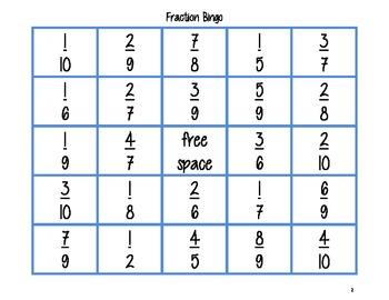 Fraction Bingo Game 1