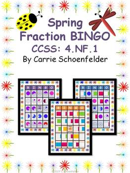 Fraction Bingo Game 4.NF.1 Plus Posters and Worksheets