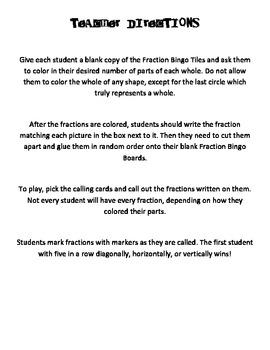 Fraction Bingo Game - Students Create Custom Cards