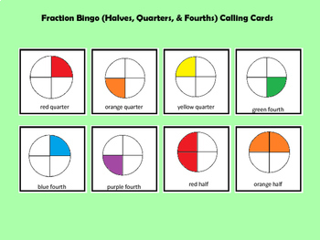 Fraction Bingo Halves, Quarters, and Fourths