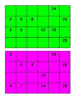 Fraction Bingo Maths Game