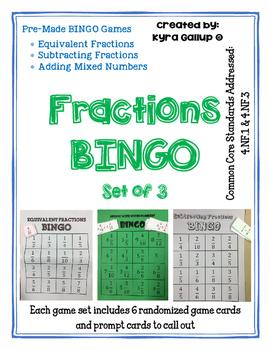 Fraction Bingo - Set of 3
