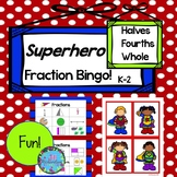 Fractions Kindergarten First Grade Superhero Bingo Math!