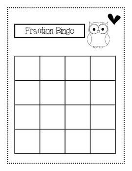 fraction bingo wholes halves thirds fourths fifths sixths