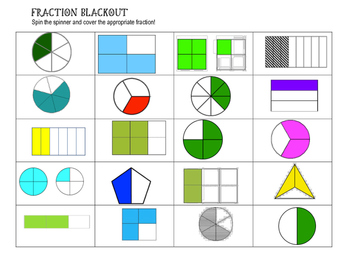 Fraction Blackout - spin the spinner and cover the fraction