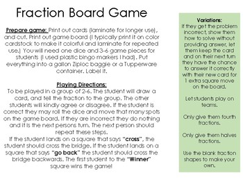 Fraction Board Game