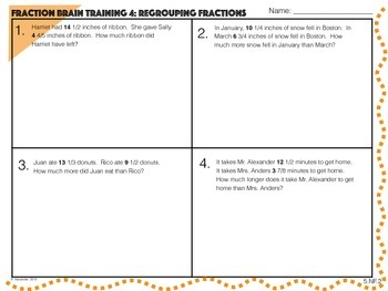 Fraction Brain Training 5.NF.1, 5.NF.2, 5.NF.6, and 5.NF.7