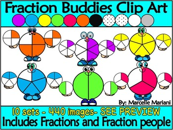 Fraction Buddies and Fractions Clip Art (440 images) Commercial use