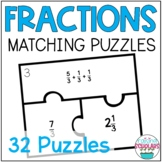 Fraction Building Matching Puzzles Fourth Grade