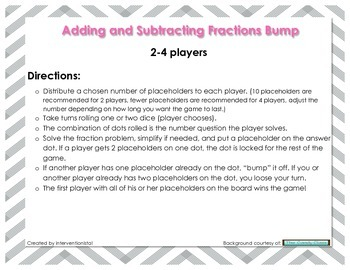 Fraction Bump - Addition and Subtraction (Like Denominators)