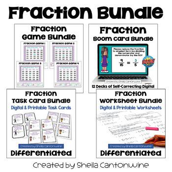 Fraction Bundle (Worksheets, Task Cards, and Games)