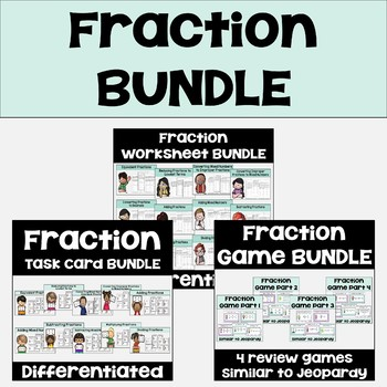 Fraction Bundle (Worksheets, Task Cards, and Games)