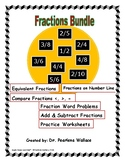 Fraction Bundle: Equivalent, Comparing Fractions, Word Problems,  Number Line...