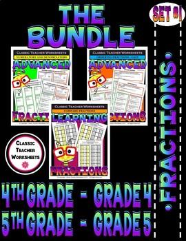 Fraction Bundle - Fractions - Set 1 - 4th Grade (Grade 4) - 5th Grade (Grade 5)