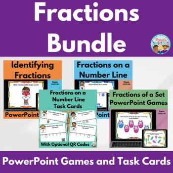Fraction Bundle: PowerPoint Games and Task Cards with QR Codes