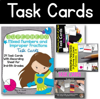 Fraction Bundle- Task Cards, Games, and Activities for Grades 3-4