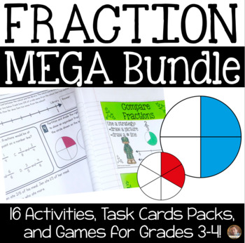 Fraction MEGA Bundle- Task Cards, Games, and Activities for Grades 3-4