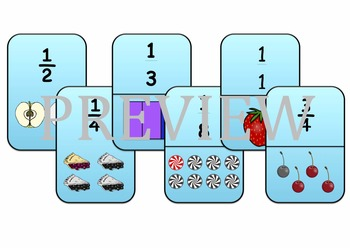 Fraction Card Game - Snap/Go Fish/Matching