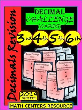 Decimals - Task Cards - Challenge Cards - Grade 3, Grade 4, Grade 5, and Grade 6