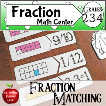Fraction Matching Cards  Math Center Activity