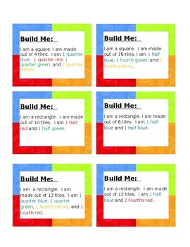 Fraction Cards- Build It (fourths and halves)