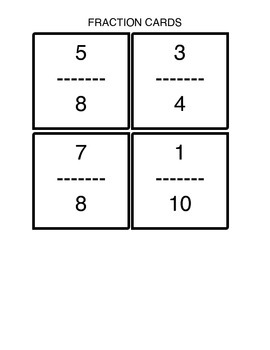 Fraction Cards:  For ordering on a number line