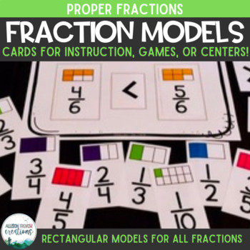 Fraction Cards: Proper Fractions with Models for Identifying, Comparing, & More!