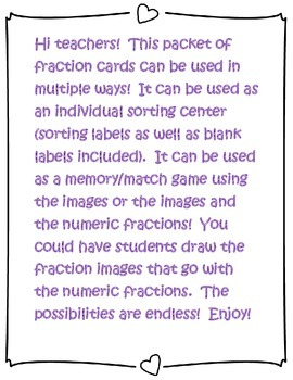 Fraction Cards for Centers or Independent Work