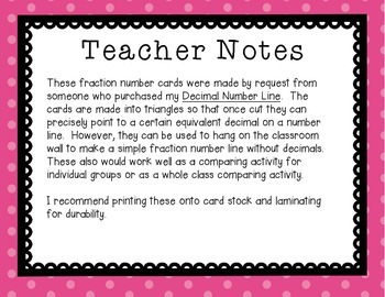 Fraction Cards for Classroom Wall Number Line