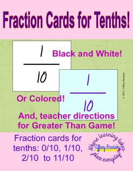 Fraction Cards for Tenths!