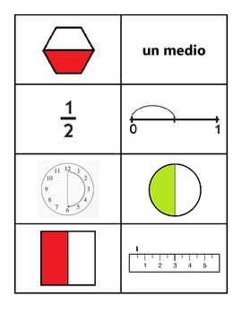 Fraction Cards in Spanish