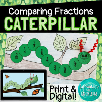 Fraction Caterpillar - Comparing and Ordering Fractions Craft