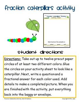 Fraction Caterpillars Activity