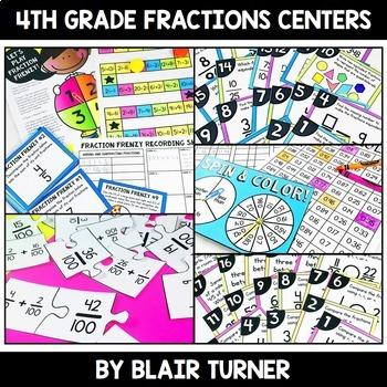 Fraction Centers Bundle: 4th Grade Math Test Prep by Blair Turner