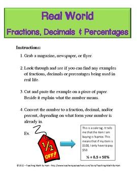Fraction Centers - Set #2 - Including Decimals & Percent