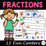 Fractions and Fractions on a Number Line Third Grade Math Centers